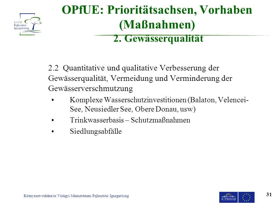 OPfUE: Prioritätsachsen, Vorhaben (Maßnahmen) 2. Gewässerqualität