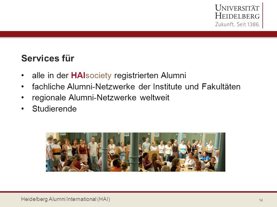 Services für alle in der HAIsociety registrierten Alumni