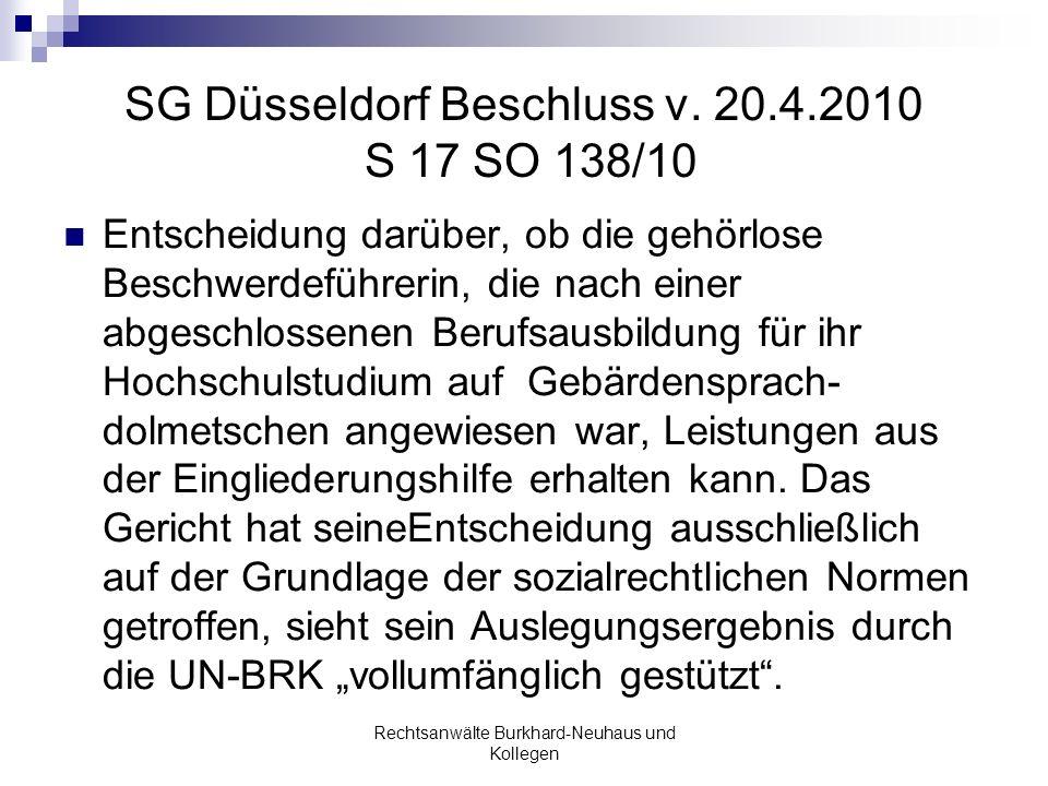 SG Düsseldorf Beschluss v. 20.4.2010 S 17 SO 138/10
