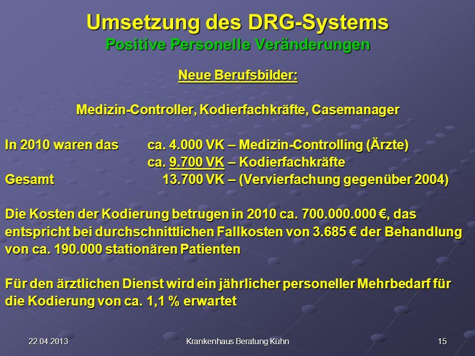 Umsetzung des DRG-Systems Positive Personelle Veränderungen
