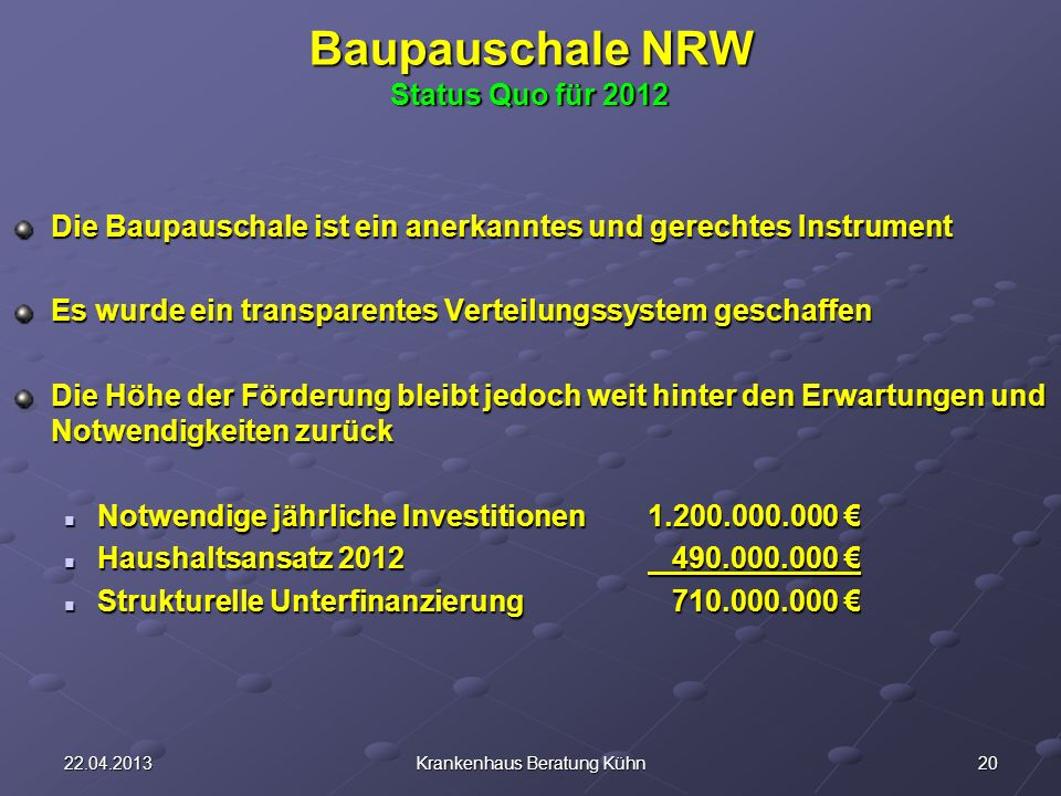 Baupauschale NRW Status Quo für 2012