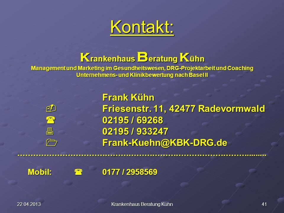 Kontakt: Krankenhaus Beratung Kühn Frank Kühn