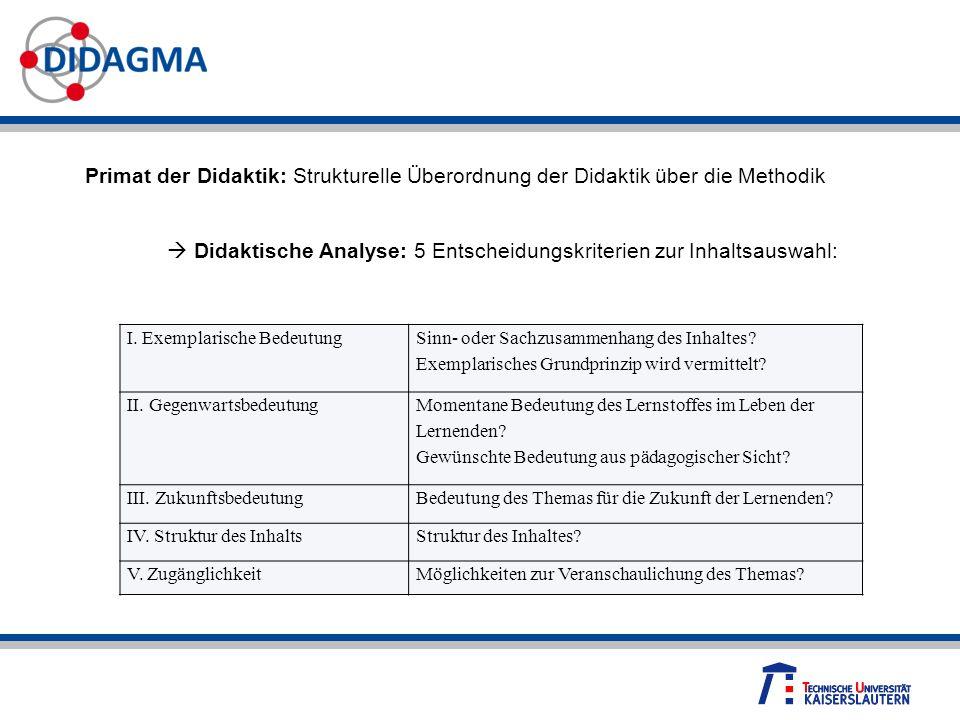  Didaktische Analyse: 5 Entscheidungskriterien zur Inhaltsauswahl: