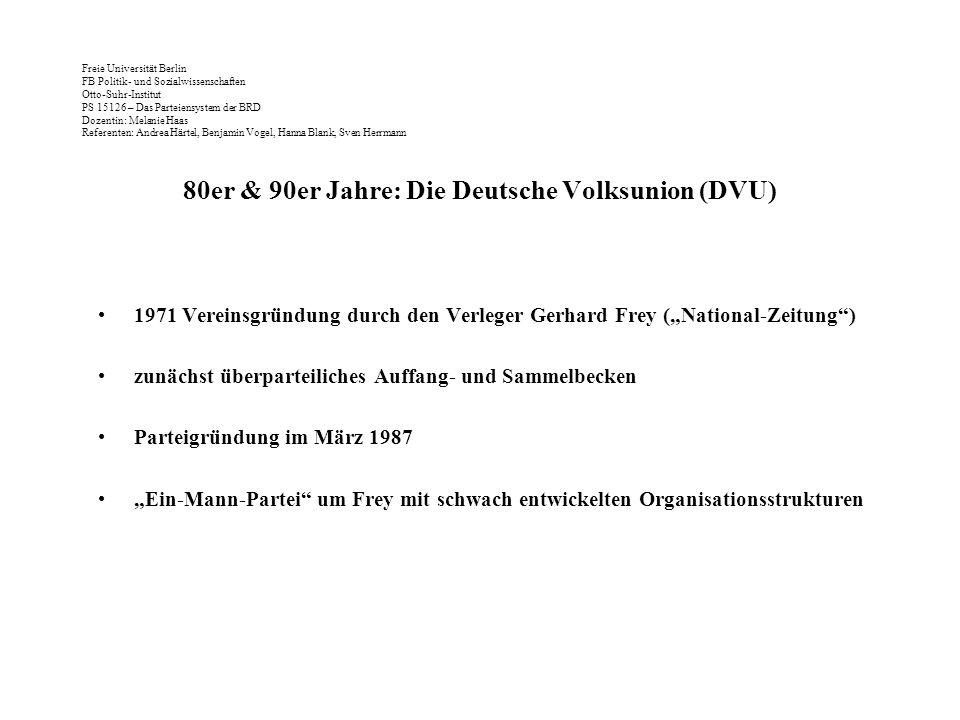 80er & 90er Jahre: Die Deutsche Volksunion (DVU)