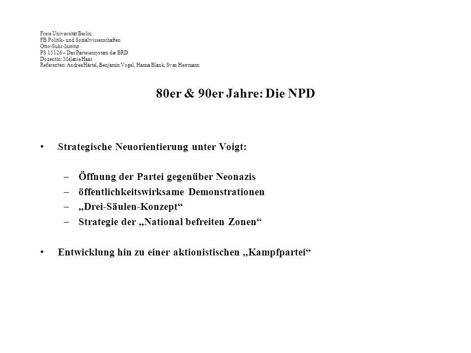 80er & 90er Jahre: Die NPD Strategische Neuorientierung unter Voigt: