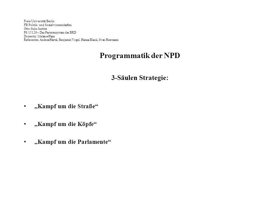 """Programmatik der NPD 3-Säulen Strategie: """"Kampf um die Straße"""