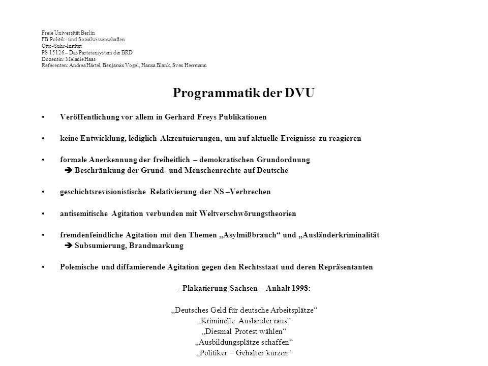 - Plakatierung Sachsen – Anhalt 1998: