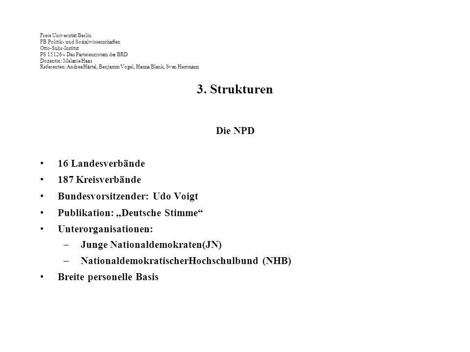3. Strukturen Die NPD 16 Landesverbände 187 Kreisverbände