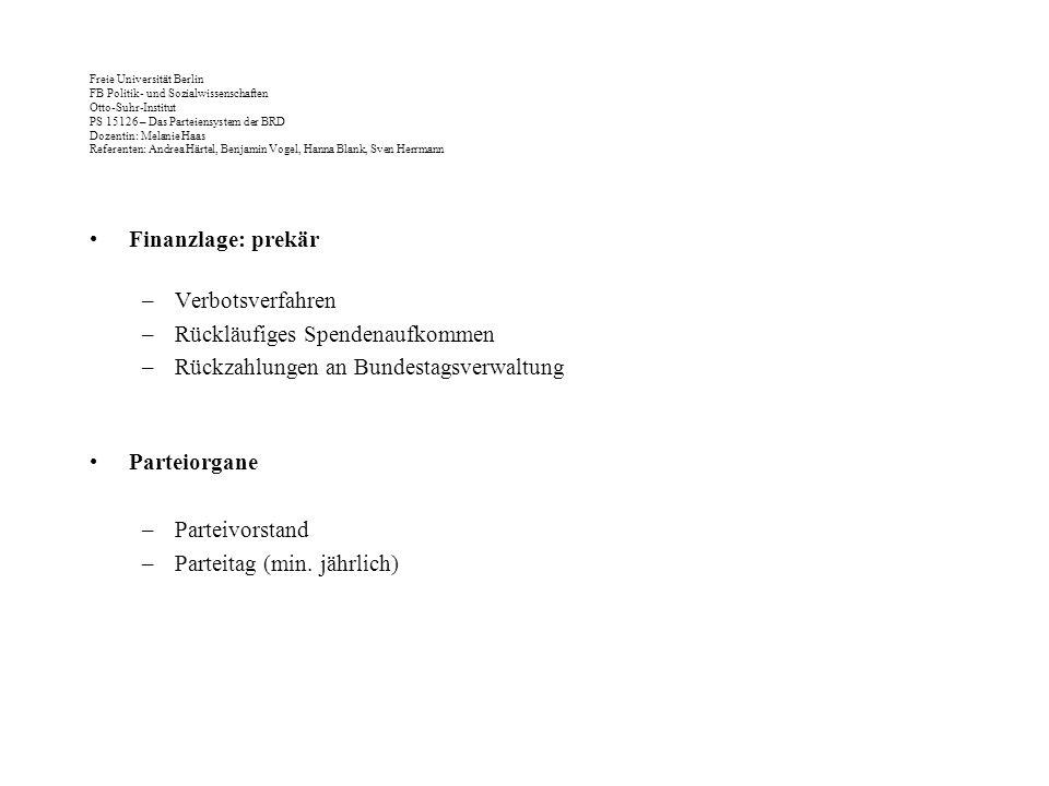 Rückläufiges Spendenaufkommen Rückzahlungen an Bundestagsverwaltung