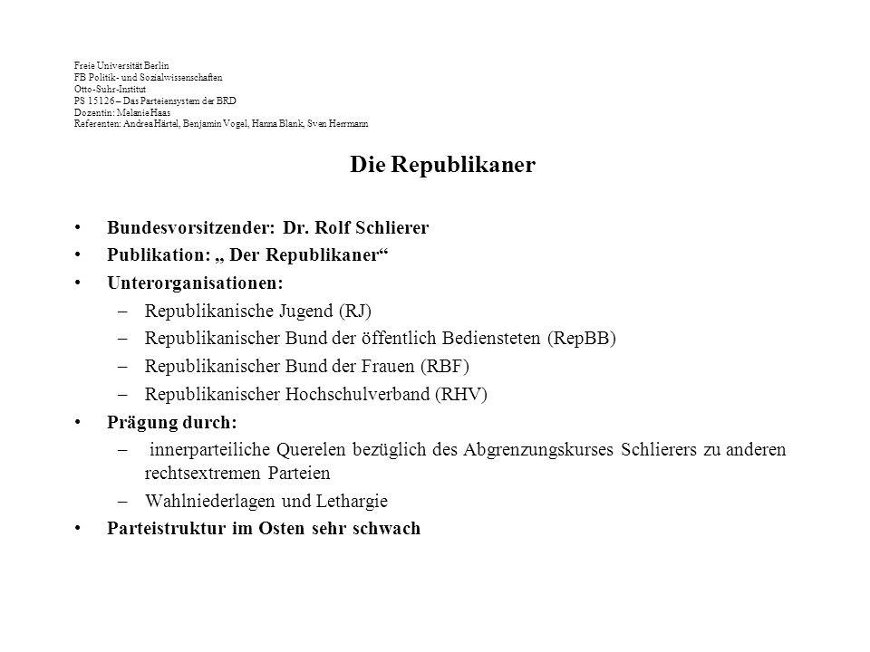Die Republikaner Bundesvorsitzender: Dr. Rolf Schlierer