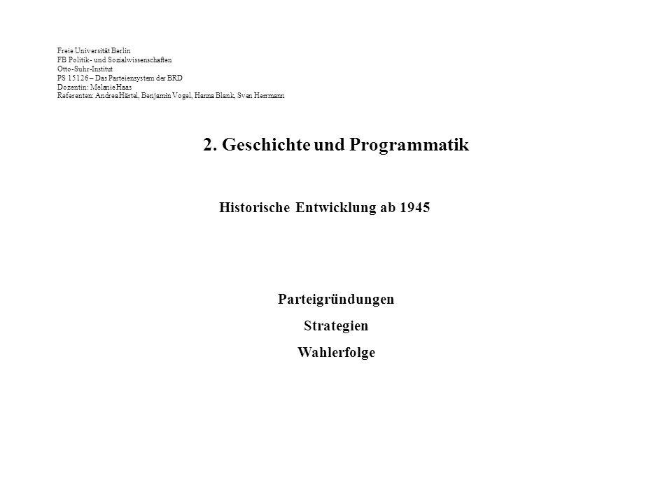 2. Geschichte und Programmatik Historische Entwicklung ab 1945