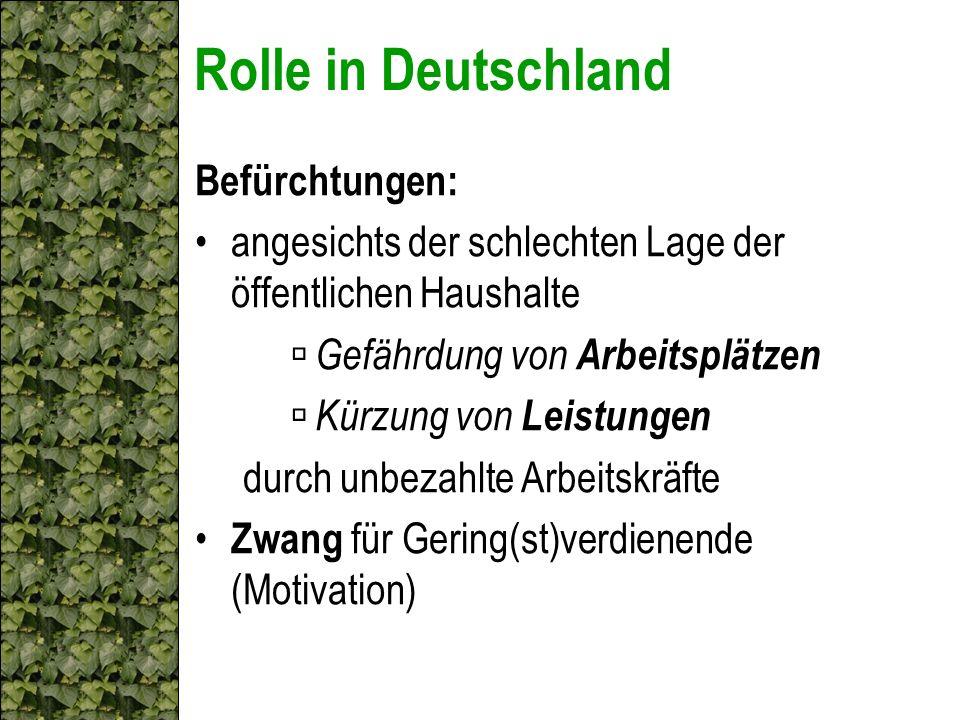Rolle in Deutschland Befürchtungen: