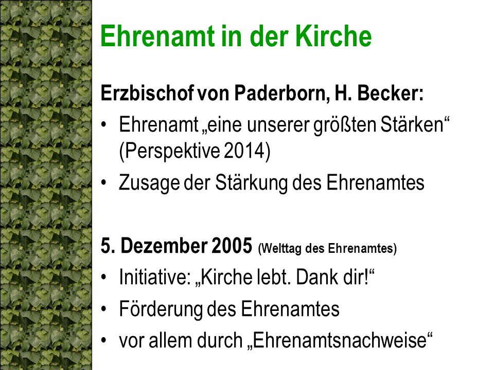 Ehrenamt in der Kirche Erzbischof von Paderborn, H. Becker:
