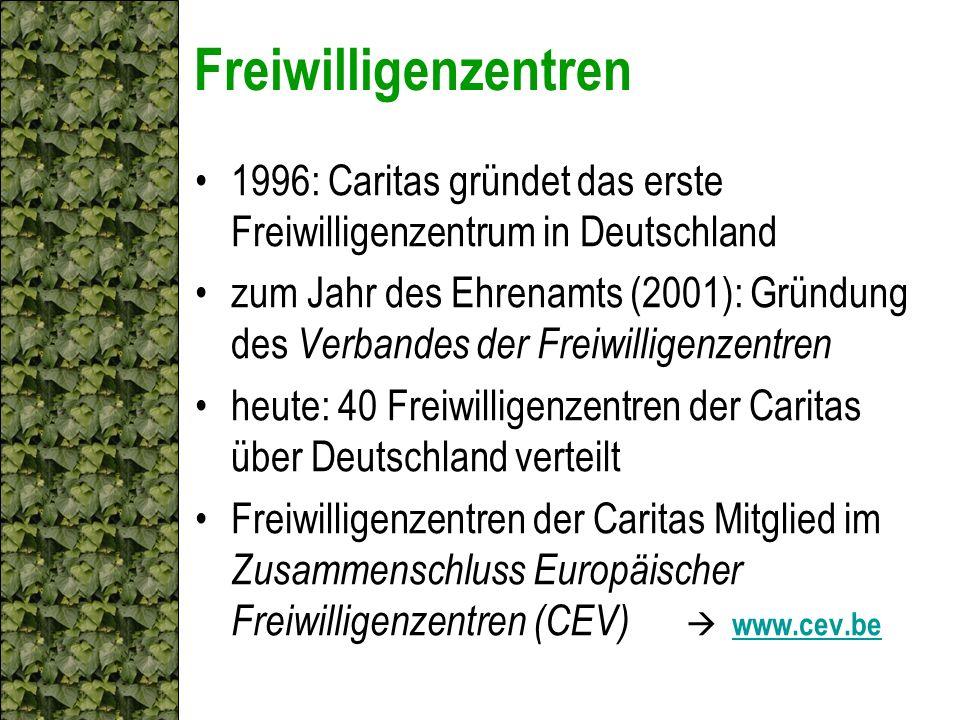 Freiwilligenzentren 1996: Caritas gründet das erste Freiwilligenzentrum in Deutschland.
