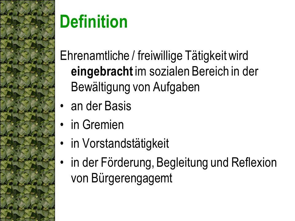 Definition Ehrenamtliche / freiwillige Tätigkeit wird eingebracht im sozialen Bereich in der Bewältigung von Aufgaben.