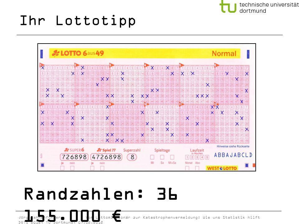 Ihr Lottotipp Randzahlen: 36 155.000 €