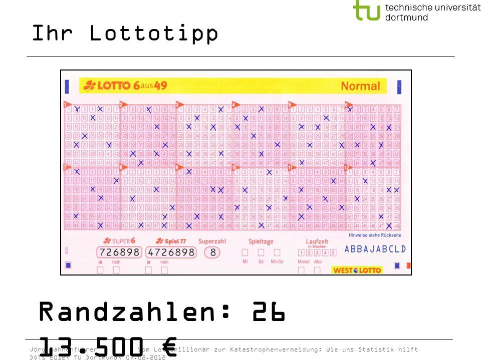 Ihr Lottotipp Randzahlen: 26 13.500 €