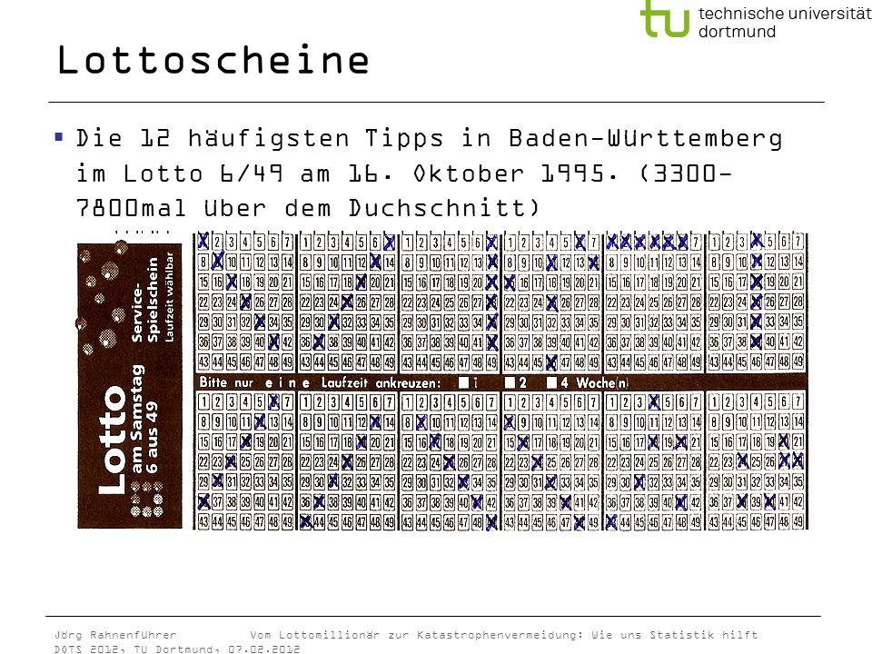 Lottoscheine Die 12 häufigsten Tipps in Baden-Württemberg im Lotto 6/49 am 16.