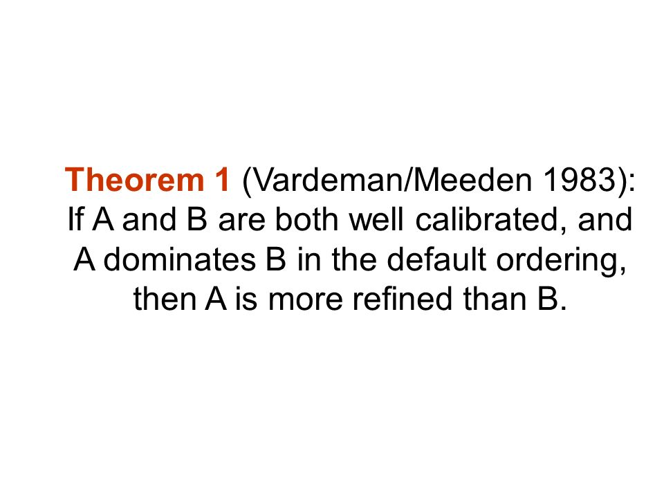 Theorem 1 (Vardeman/Meeden 1983): If A and B are both well calibrated, and A dominates B in the default ordering, then A is more refined than B.