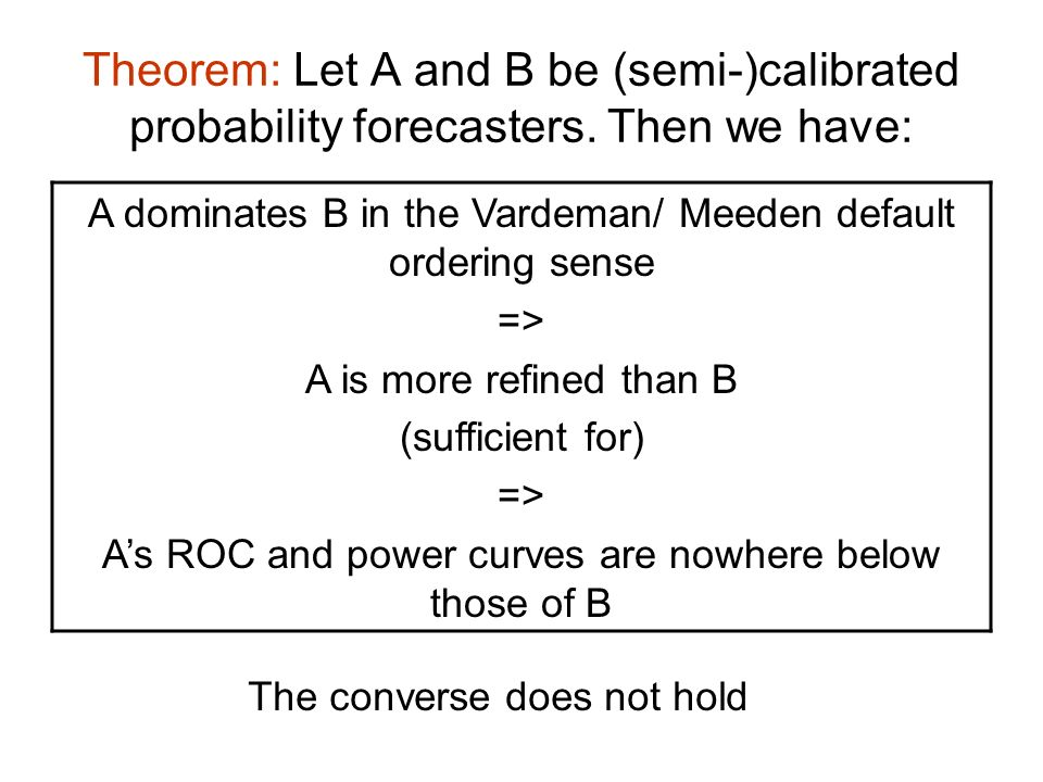 Theorem: Let A and B be (semi-)calibrated probability forecasters