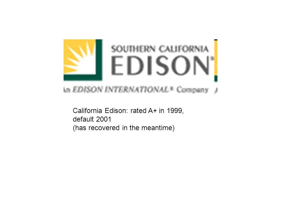 California Edison: rated A+ in 1999, default 2001