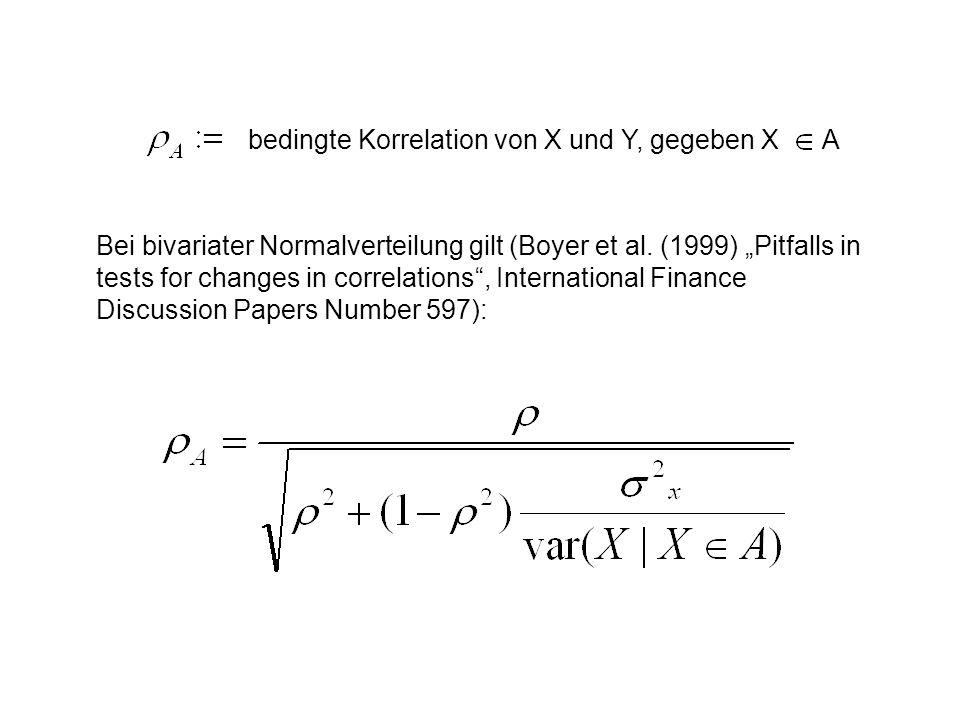 bedingte Korrelation von X und Y, gegeben X A