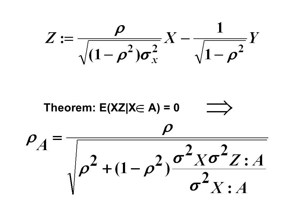 Theorem: E(XZ|X A) = 0
