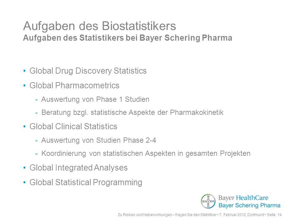 Aufgaben des Biostatistikers Aufgaben des Statistikers bei Bayer Schering Pharma