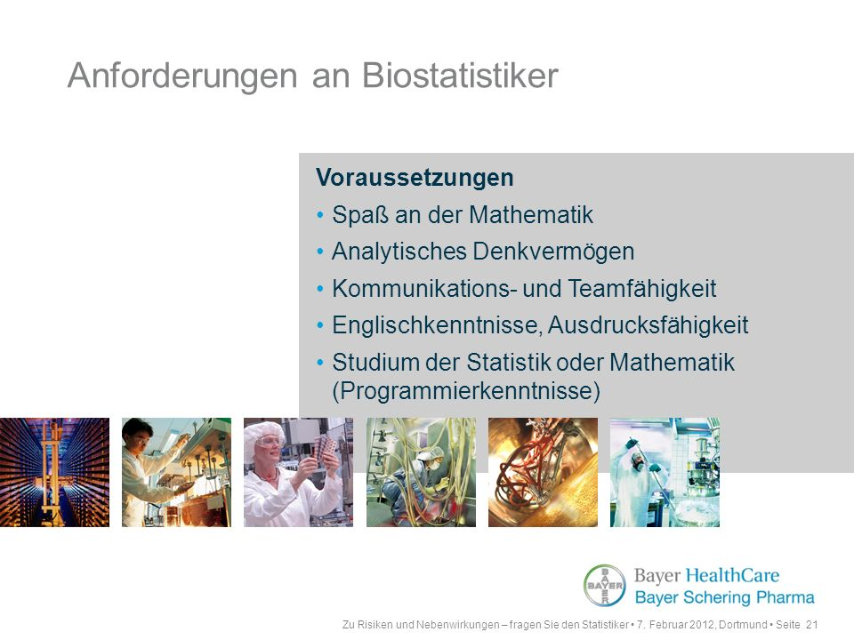 Anforderungen an Biostatistiker