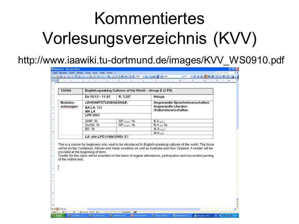 Kommentiertes Vorlesungsverzeichnis (KVV)