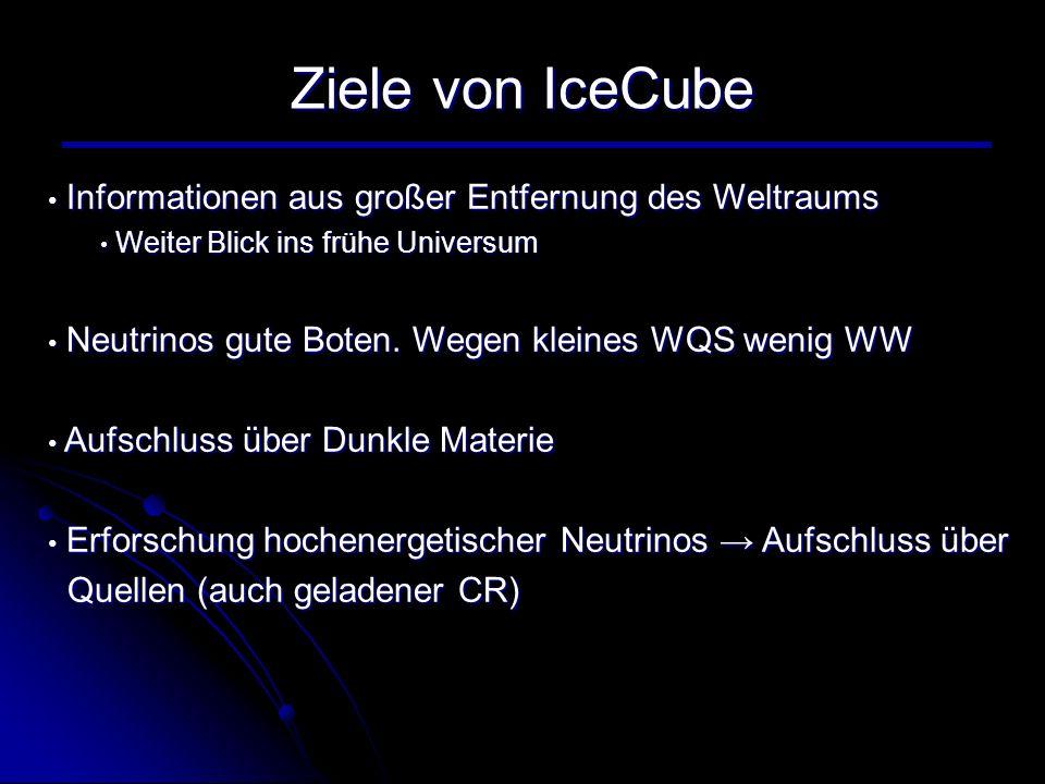 Ziele von IceCube Informationen aus großer Entfernung des Weltraums