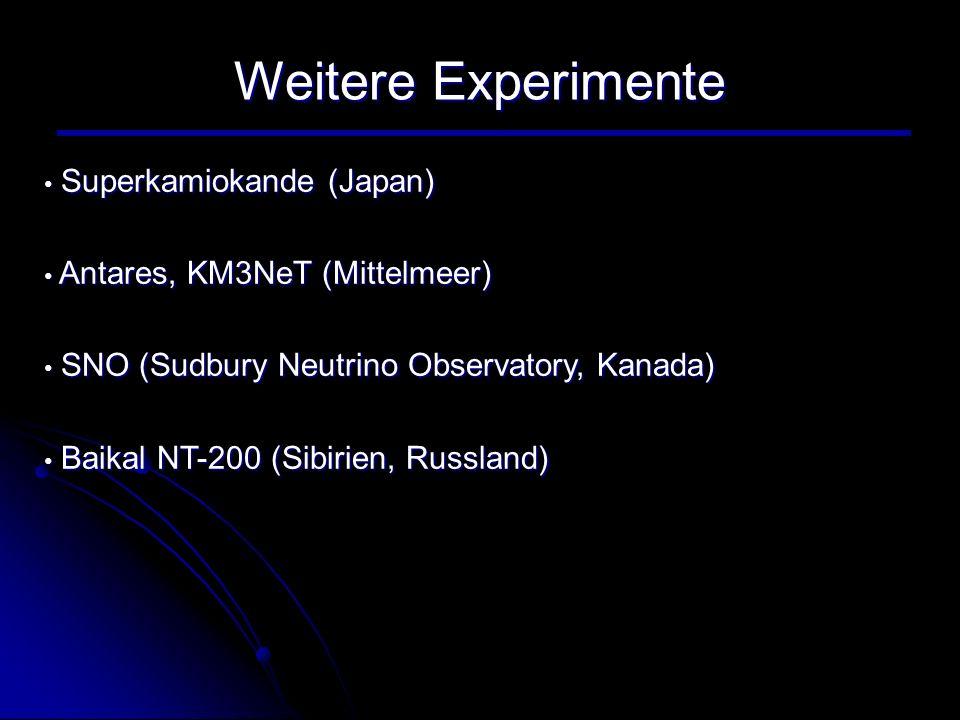 Weitere Experimente Superkamiokande (Japan)