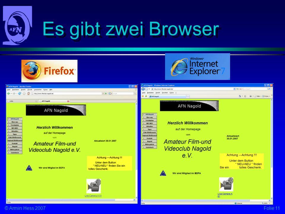Es gibt zwei Browser