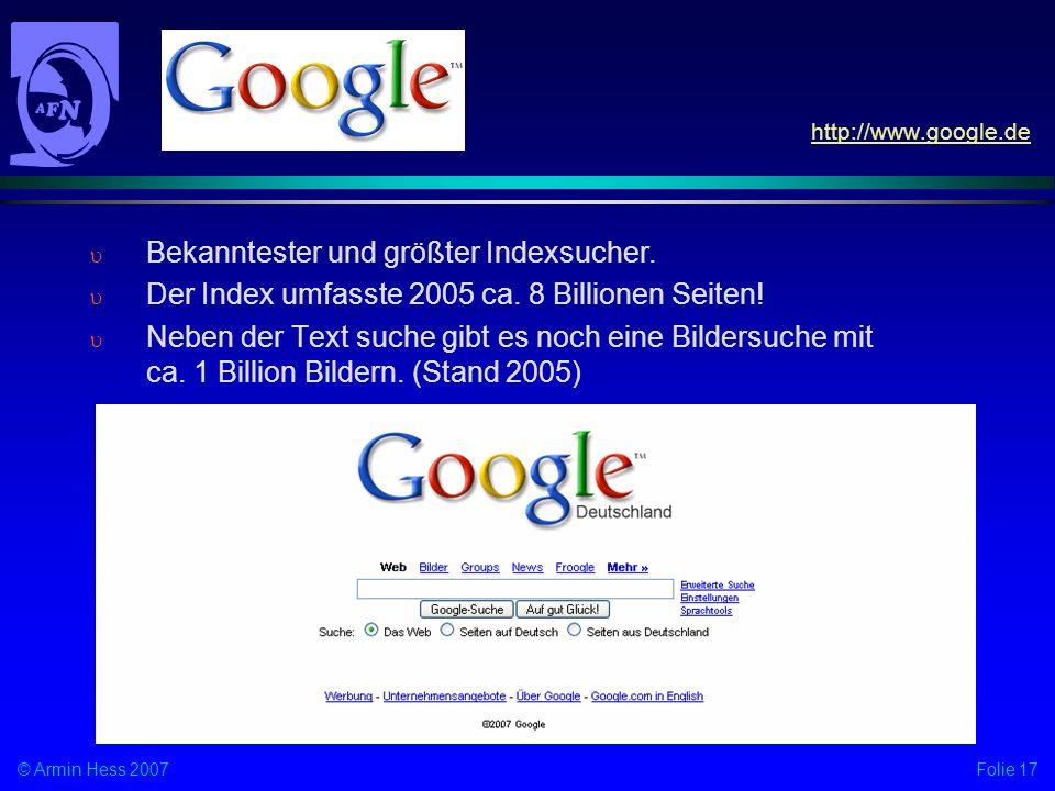 Bekanntester und größter Indexsucher.