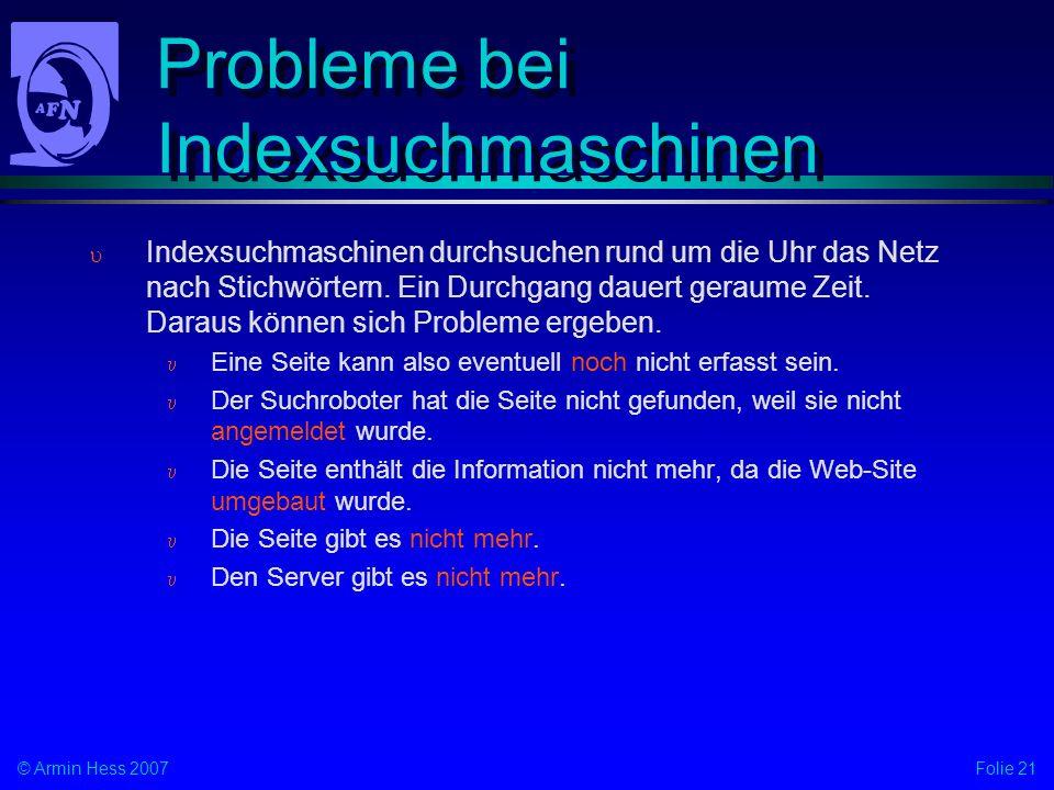 Probleme bei Indexsuchmaschinen
