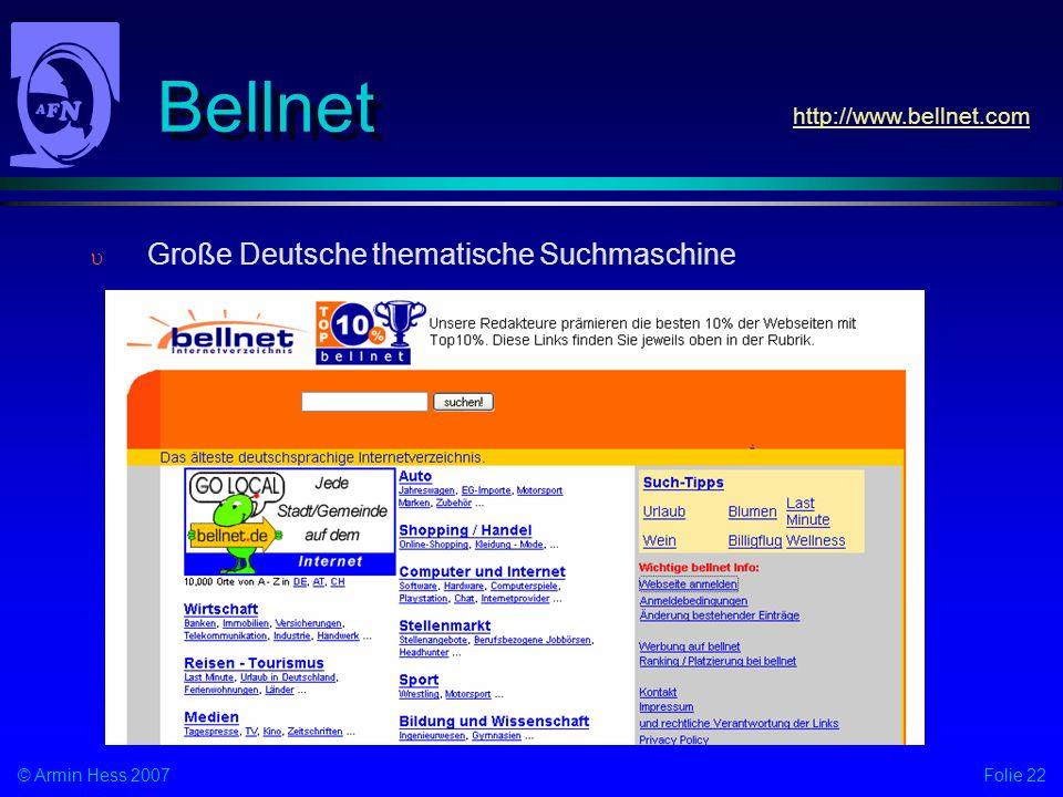 Bellnet http://www.bellnet.com Große Deutsche thematische Suchmaschine