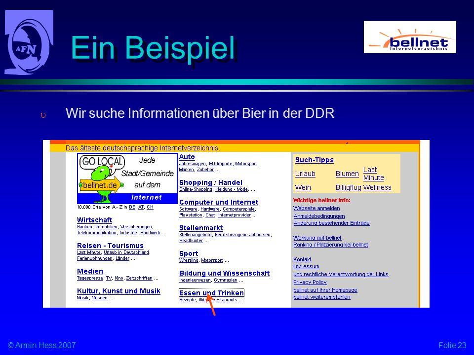 Ein Beispiel Wir suche Informationen über Bier in der DDR