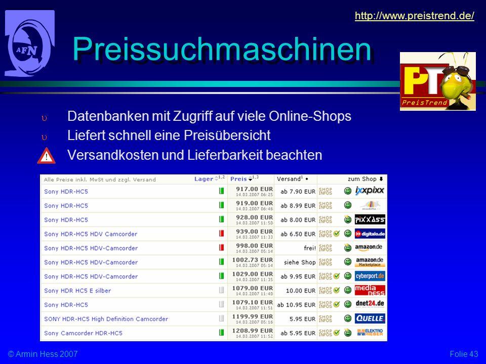 Preissuchmaschinen Datenbanken mit Zugriff auf viele Online-Shops