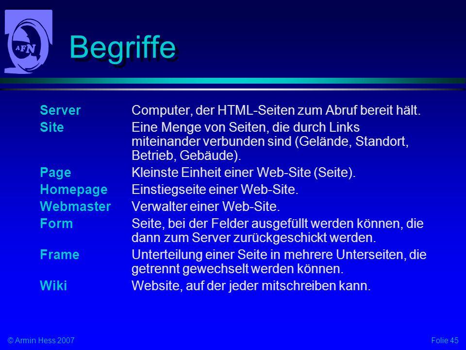 Begriffe Server Computer, der HTML-Seiten zum Abruf bereit hält.