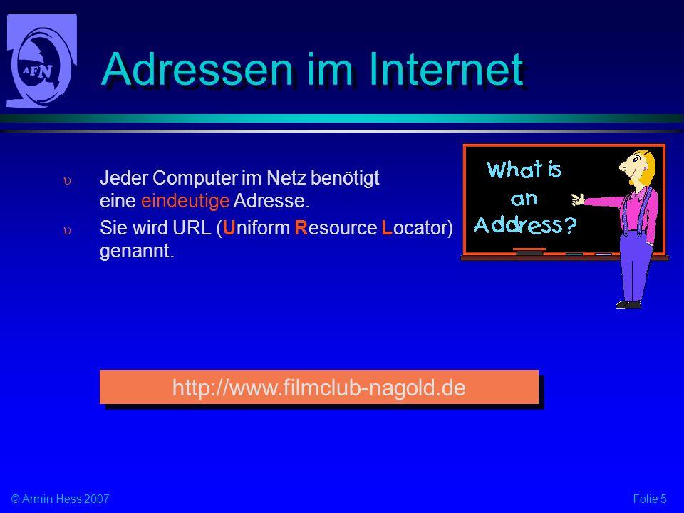 Adressen im Internet http://www.filmclub-nagold.de