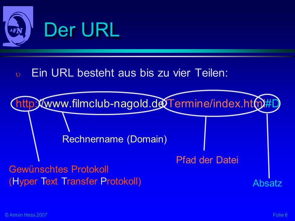 Der URL Ein URL besteht aus bis zu vier Teilen: