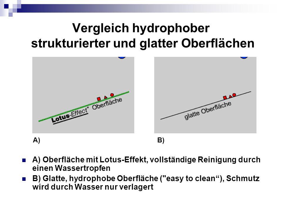 Vergleich hydrophober strukturierter und glatter Oberflächen