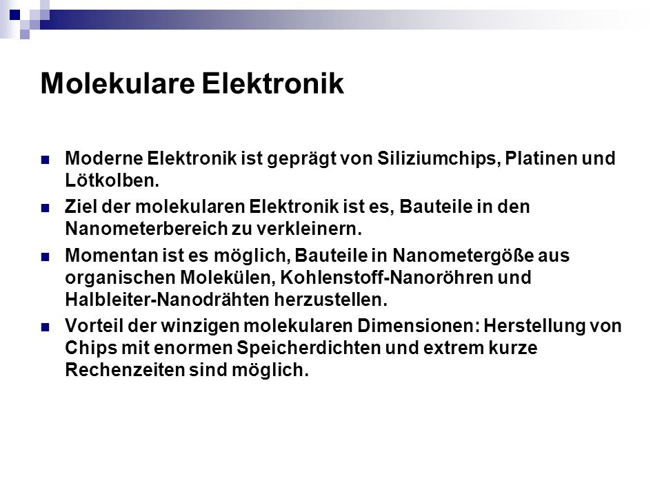 Molekulare Elektronik