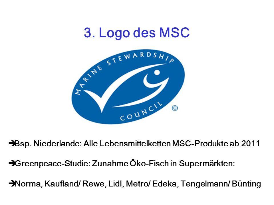 3. Logo des MSC Bsp. Niederlande: Alle Lebensmittelketten MSC-Produkte ab 2011. Greenpeace-Studie: Zunahme Öko-Fisch in Supermärkten: