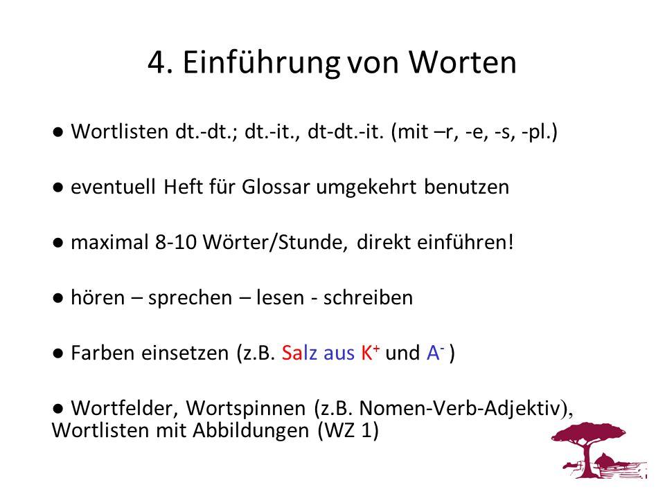 4. Einführung von Worten ● Wortlisten dt.-dt.; dt.-it., dt-dt.-it. (mit –r, -e, -s, -pl.) ● eventuell Heft für Glossar umgekehrt benutzen.