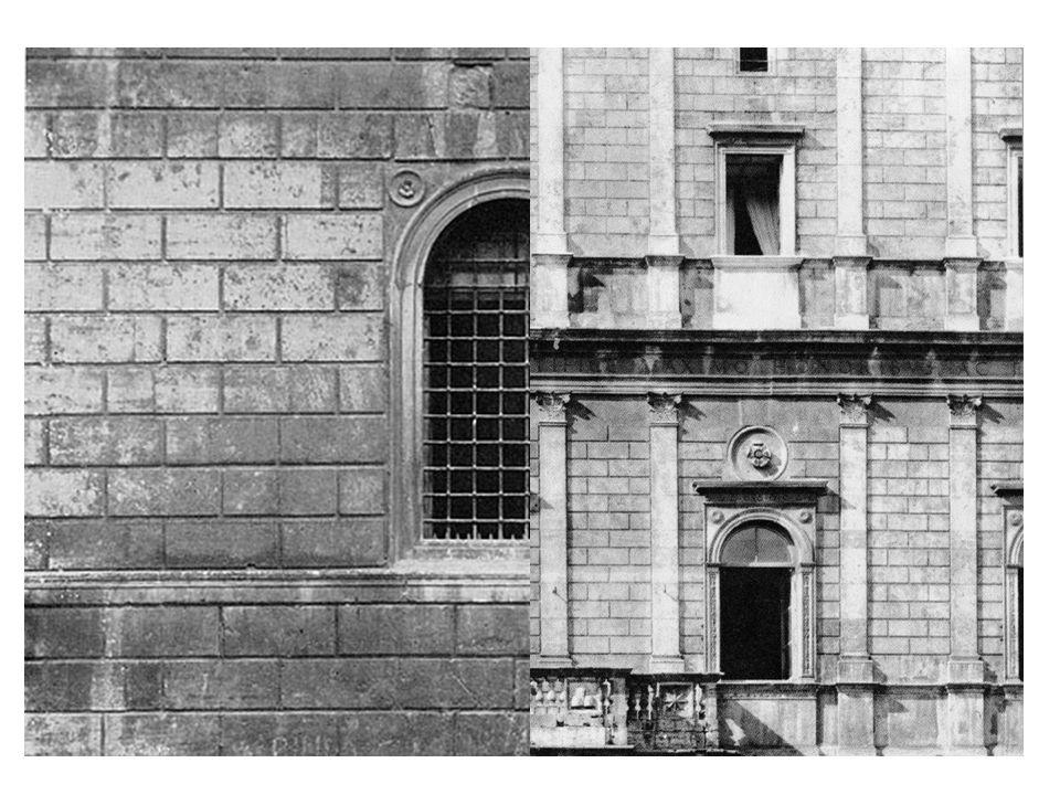 Neu war im römischen Palastbau nicht nur das Riesenmaß (14 Fensterachsen) sondern auch die Verkleidung mit einer Plattenrustika aus Travertin und die Pilaster in Superposition (obere 2 Stockwerke).