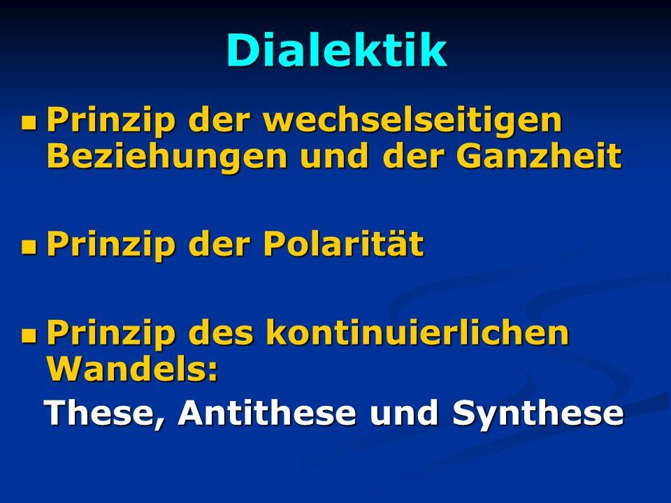 Dialektik Prinzip der wechselseitigen Beziehungen und der Ganzheit