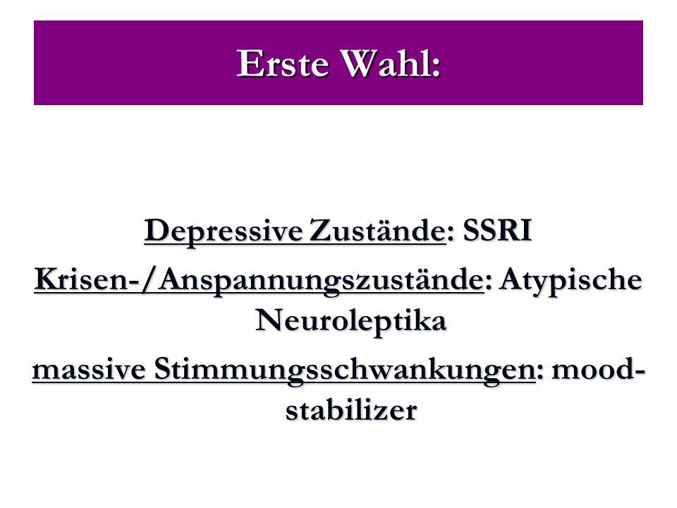 Erste Wahl: Depressive Zustände: SSRI