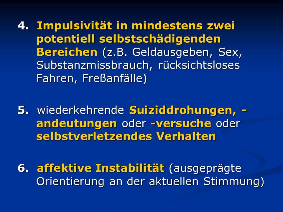 4. Impulsivität in mindestens zwei potentiell selbstschädigenden Bereichen (z.B. Geldausgeben, Sex, Substanzmissbrauch, rücksichtsloses Fahren, Freßanfälle)