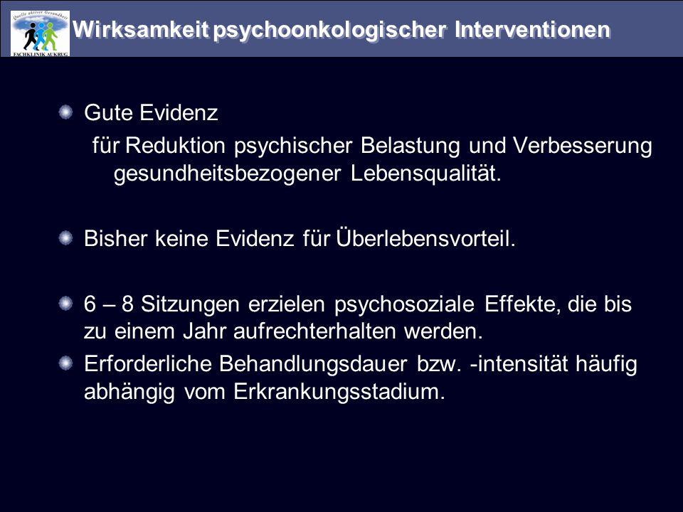 Wirksamkeit psychoonkologischer Interventionen